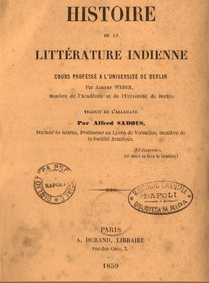 Histoire de la littérature indienne : cours professé à l'Université de Berlin