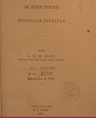 De rebus turcicis : Epistolae ineditae