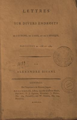 Lettres sur divers endroits de l'Europe, de l'Asie, et de l'Afrique, parcourus en 1788 et 1789