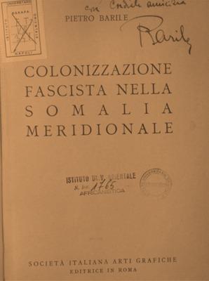 Colonizzazione fascista nella Somalia meridionale