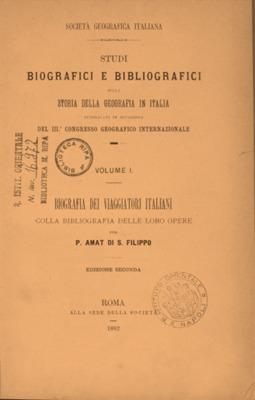 Biografia dei viaggiatori italiani colla bibliografia delle loro opere